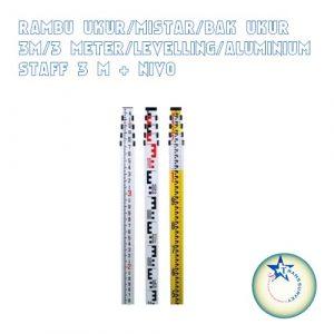Rambu Ukur/Mistar/Bak Ukur 3M/3 Meter/Levelling/Aluminium Staff 3M+Nivo